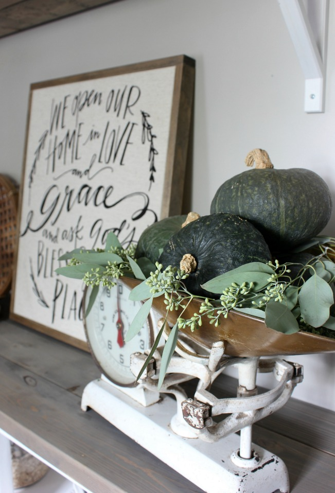 Fall Home - Vintage Scale with Green Kabocha Squash