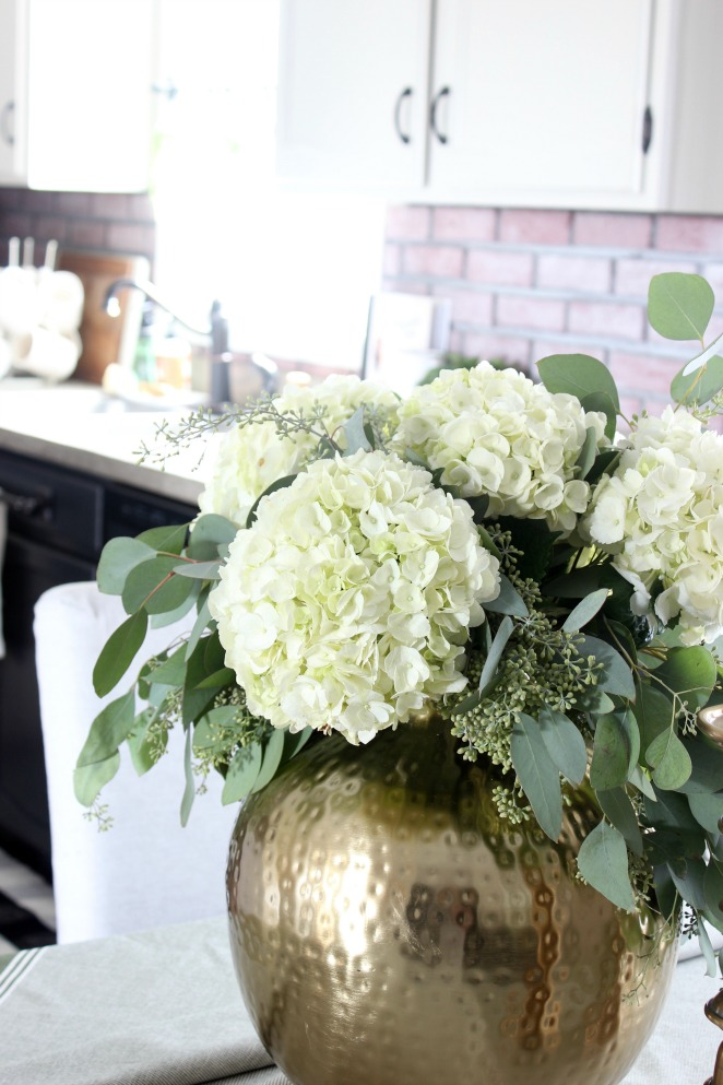 Fall Home - White hydrangea and eucalyptus centerpiece