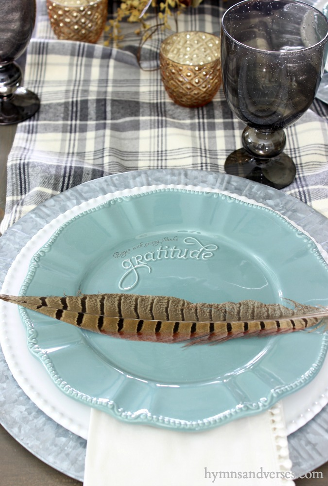 "Birthday Giveaway - Teal ""Gratitude"" Salad Plates for Thanksgiving Table"