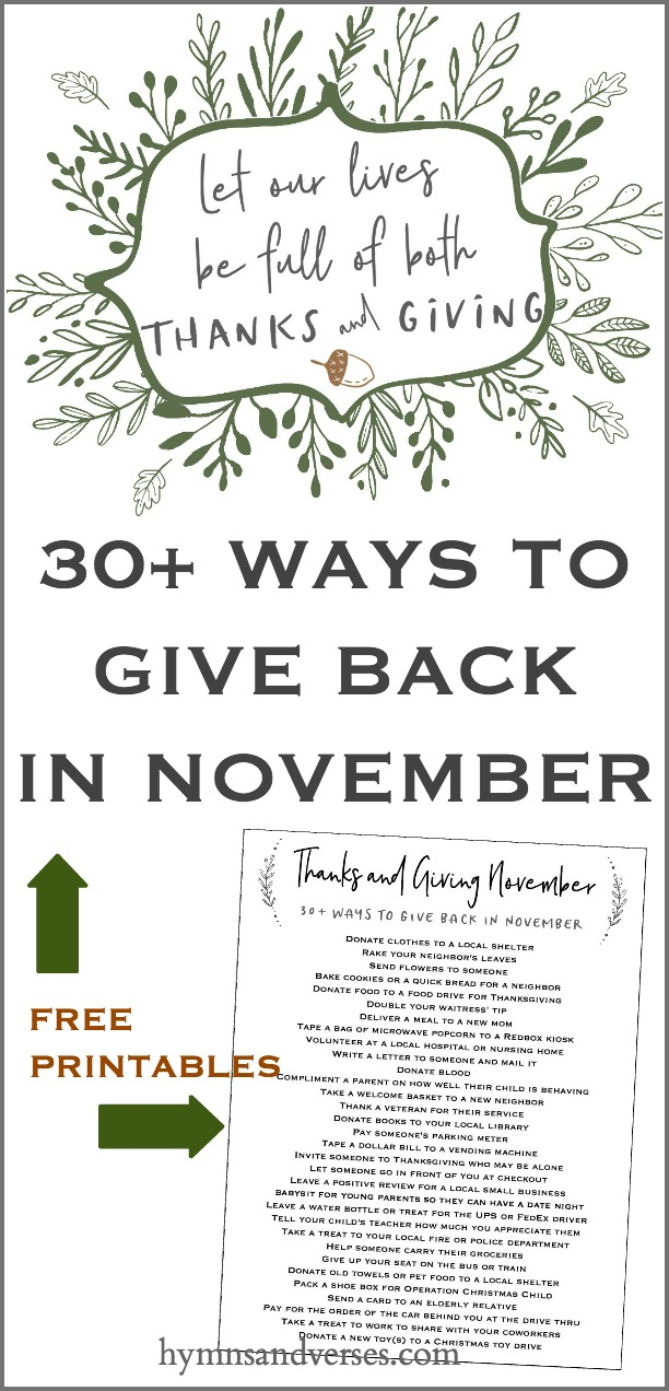 Graphic for FREE Printables for Give Back November and Thanks and Giving Art Print