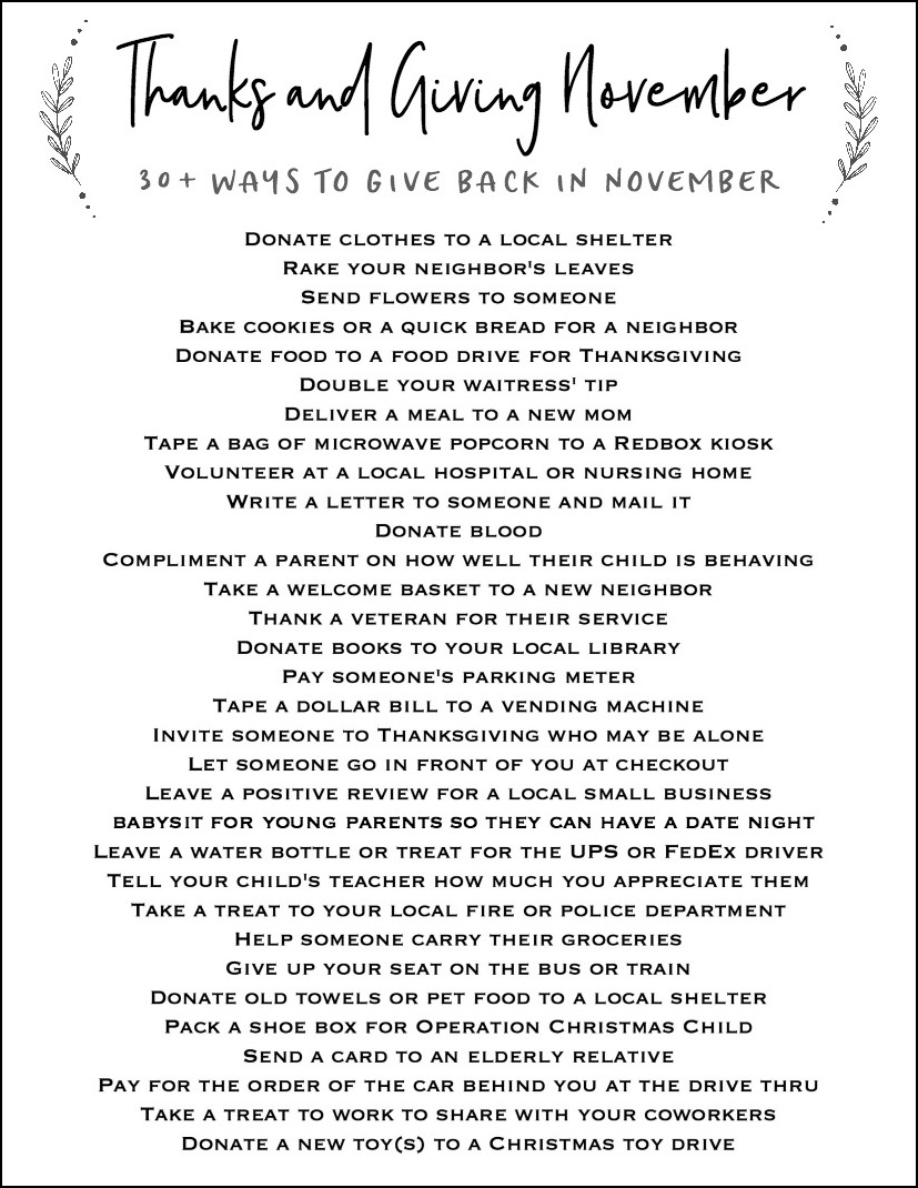 Printable List of 30+ Ways to Give Back in November