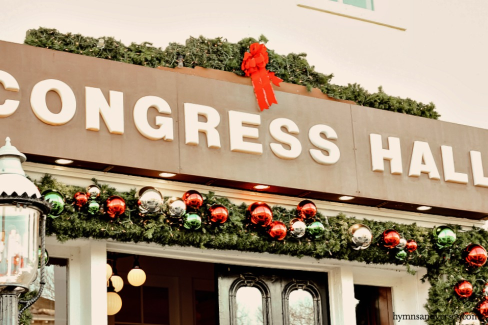 Congress Hall sign at Christmas in Cape May, NJ