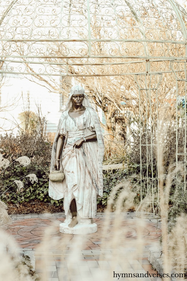 Garden statue in the winter at Cape May, NJ