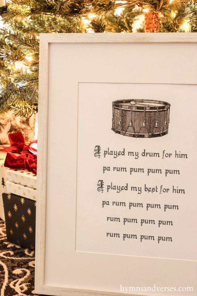 Little Drummer Boy Framed Print and Christmas Tree in the Background