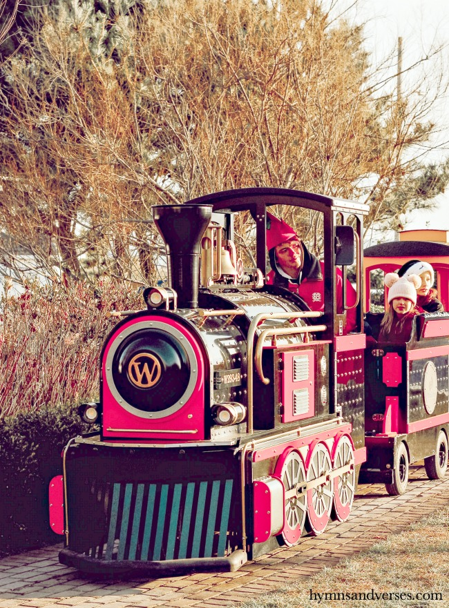 Outdoor Christmas train for the kids at Congress Hall in Cape May, NJ