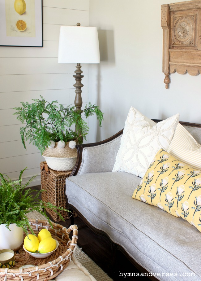 Candlewick Pillow with yellow accent pillows