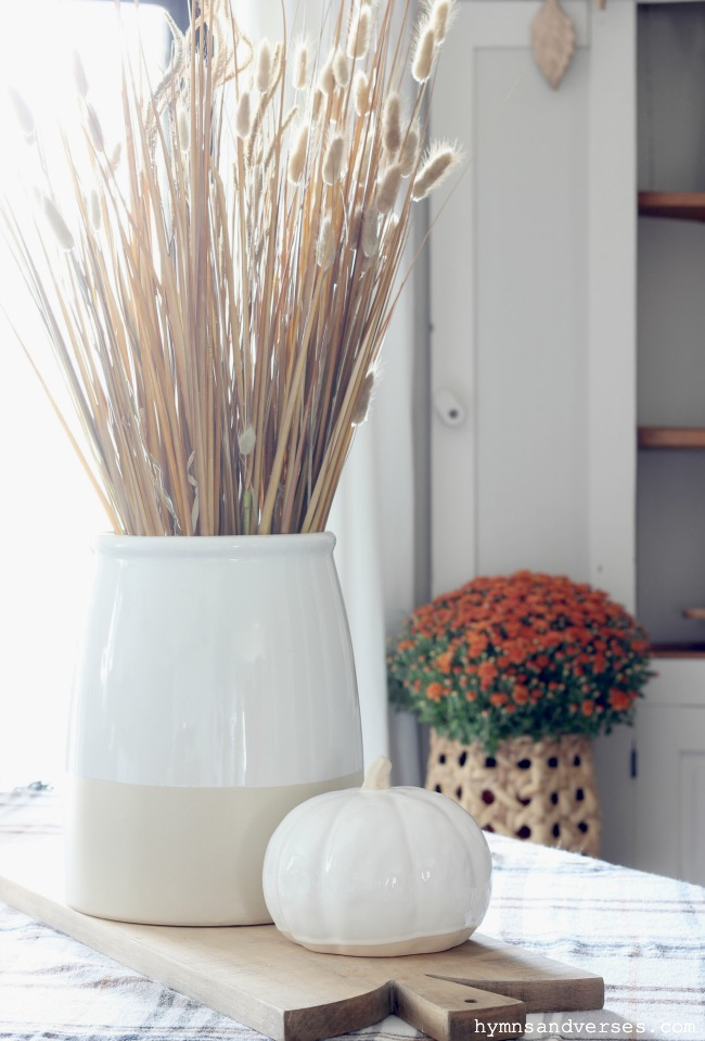 Fall Grasses in a Crock Centerpiece - Hymns and Verses