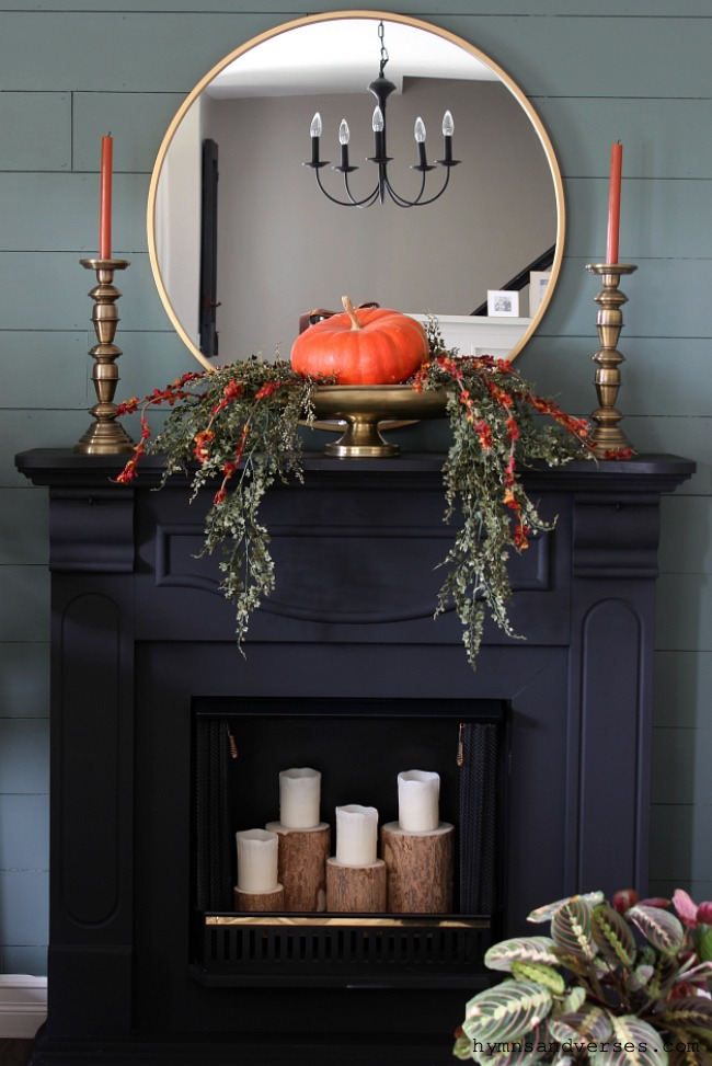 Fall Mantel Decor - Hymns and Verses