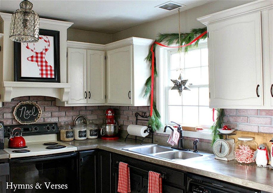 Red and White Christmas Kitchen - Hymns and Verses Blog