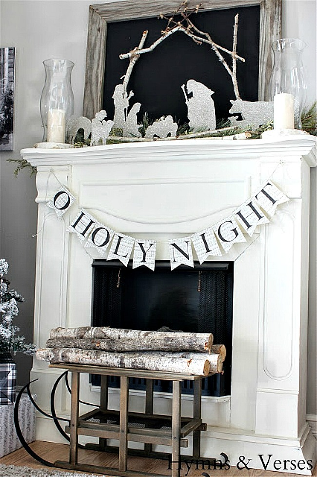 Christmas Mantel with Silhouette Nativity - Hymns and Verses Blog