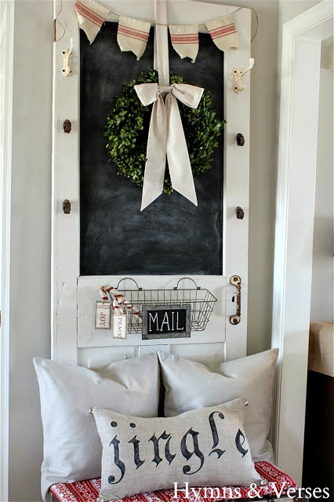 Old Door Chalkboard with Christmas Boxwood Wreath - Hymns and Verses Blog