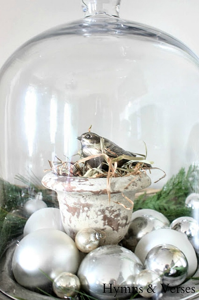 Christmas Cloche with Silver Bird and Ornaments - Hymns and Verses Blog