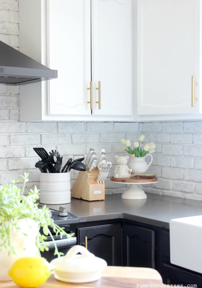 Modern Farmhouse Kitchen with Brick Backsplash - Hymns and Verses
