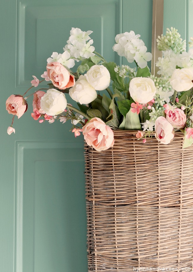 Pink and White Spring Florals in Wicker Door Basket - Hymns and Verses
