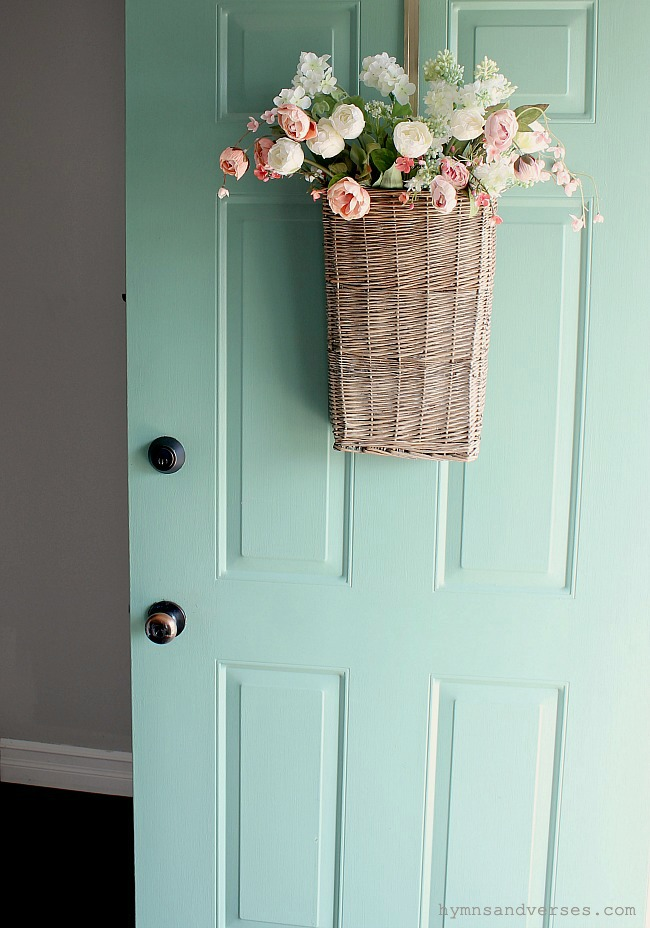 Pink and White Floral Basket on Mint Green Front Door - Hymns and Verses