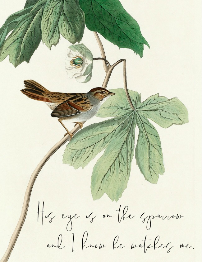 His Eye is on the Sparrow Free Printable - Hymns and Verses