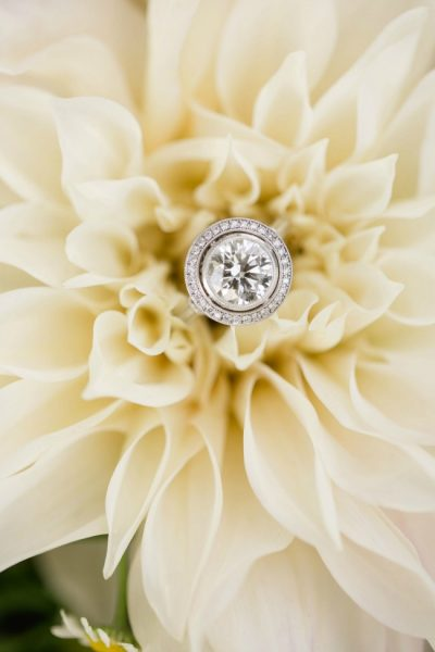 Cafe Au Late Dahlia with Engagement Ring